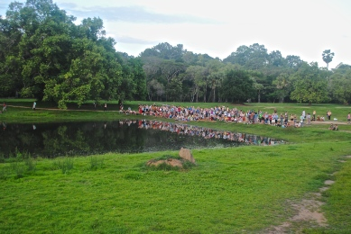Tourists waiting for the Sunrise in Angkor Wat